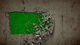 wall collapse B green screen - three different intro effects with sound