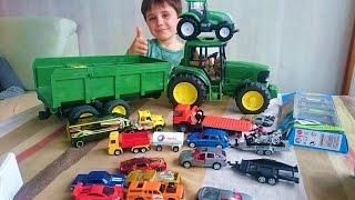 Vídeo juguetes para Niños. Vehículos SIKU, tractor John Deere BRUDER, coches HOT WHEELS, Toys kids