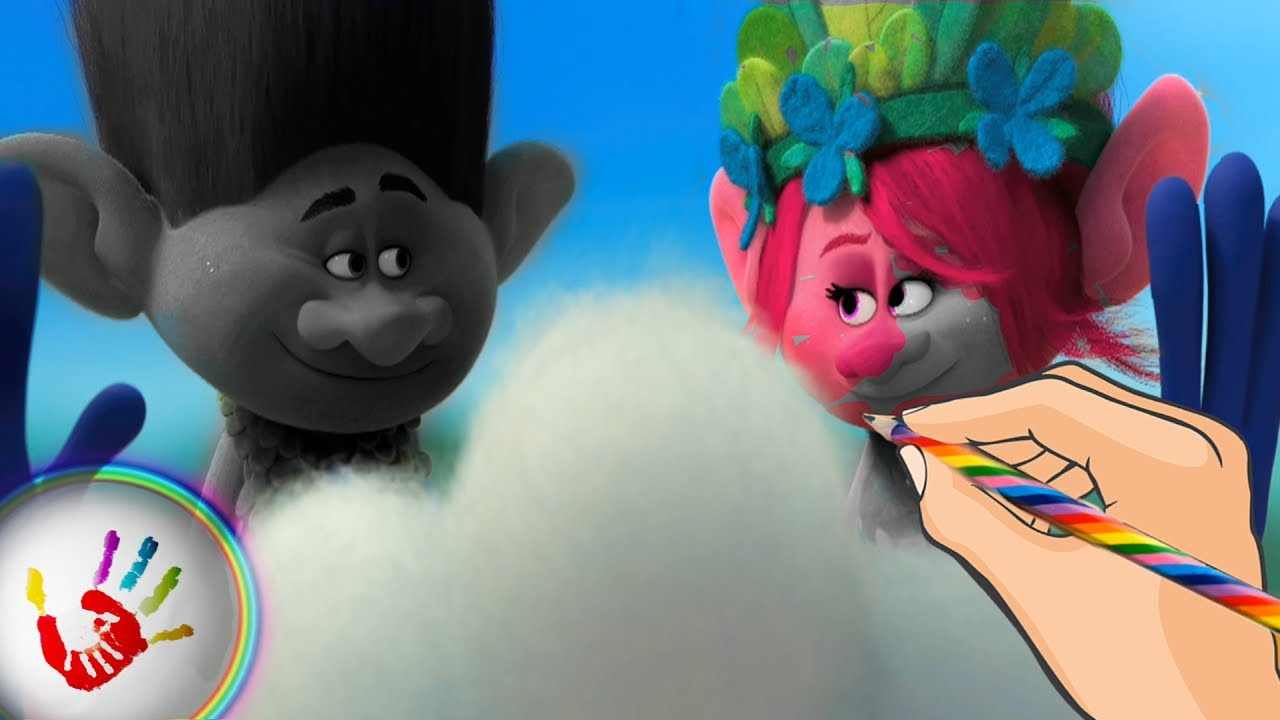 trolls princess poppy and branch welcome with a cloud coloring
