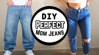 HOW TO MAKE MOM JEANS FROM BAGGY JEANS