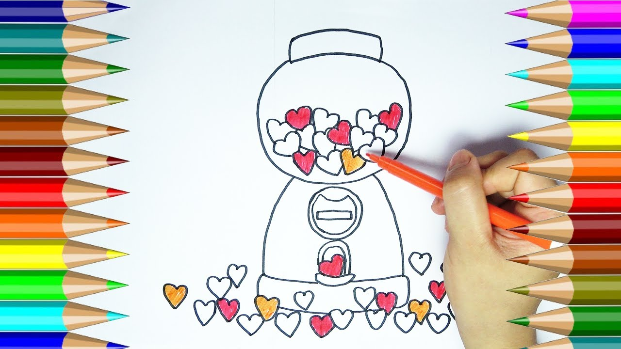 Free coloring page gumball machine - How To Draw Heart Gum Machine Heart Shaped Gumball Machine Coloring Pages Cp 4k