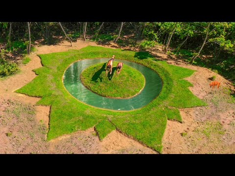 Primitive Technology: Building Most Beautiful Flower Swimming Pool At Mountain Forest