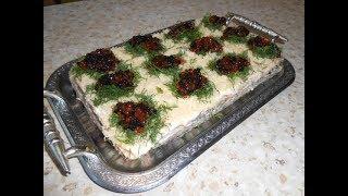 Торт закусочный селедочно-грибной  (рецепт бомба).
