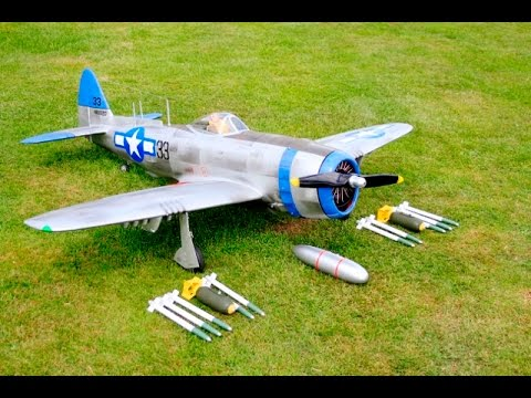MAIDEN TOPFLITE GIANT SCALE RC P-47N THUNDERBOLT CLIPPED WING EVO 80cc DEANO & LEE RADMAC - 2016