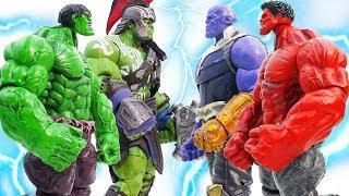 THANOS Vs HULK~ Green HULK Stop Red HULK Angry #Toymarvel