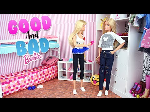 Mauvaise Barbie & Bonne Barbie Chambre Routine du soir | Good & Bad Barbie dolls Night Routine