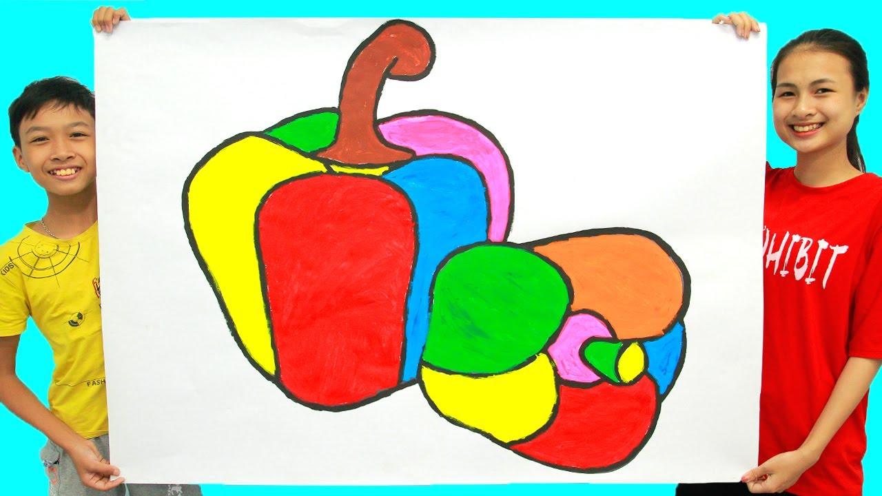 Menggambar dan Mewarnai 2 Paprika Raksasa untuk Anak-anak