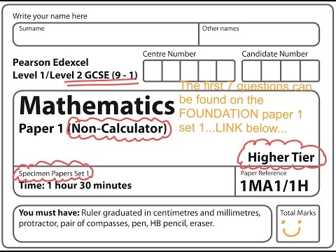 NEW SPEC (9-1) GCSE 2017 Set 1. Paper 1. Higher. NON CALCULATOR