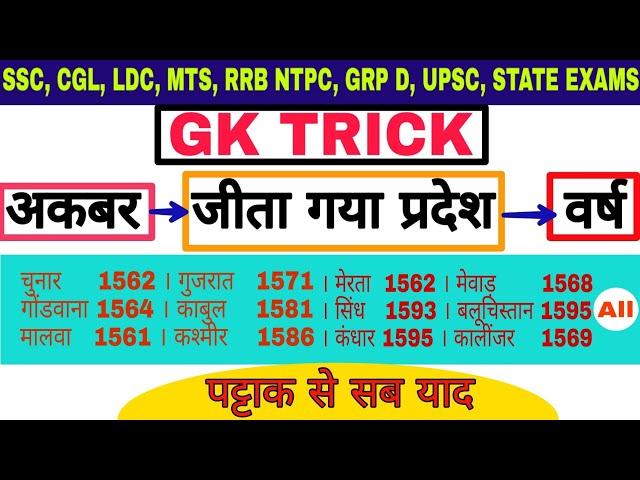 Gk Tricks : State won by Akbar with year | अकबर द्वारा जीता गया प्रदेश एवं वर्ष | Study corner
