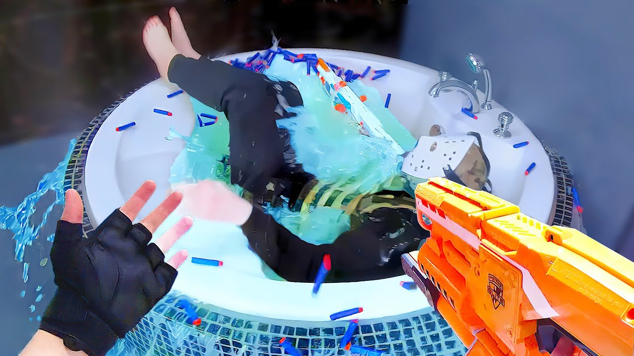 Nerf War: Shower Battle | Nerf FPS First Person Shooter (No SUPER SOAKER Edition)