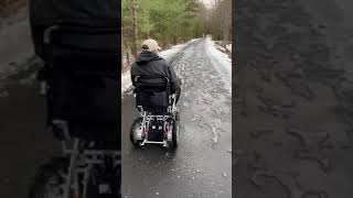 """Porto Mobility Customer challenges His Quattro Power Wheelchair on ice / snow  - """"works flawlessly"""""""