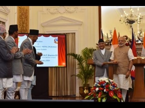 PM Modi with Prime Minister of Nepal K. P. Oli at the Joint Press Statement in New Delhi