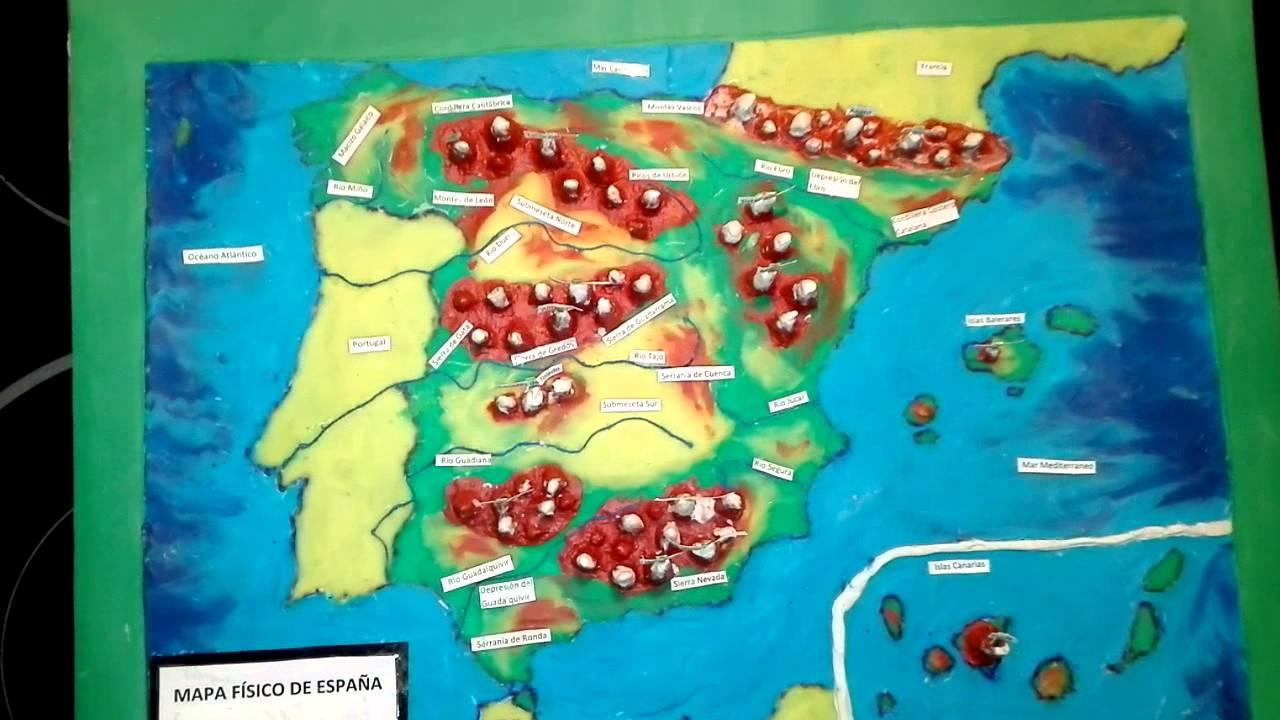 Mapa fsico de Espaa en 3D con plastilina e hilos Manualidades