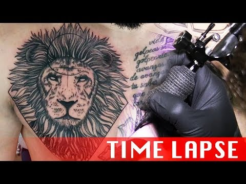 d69674621cc3a Geometric lion - Tattoo time lapse - YouTube