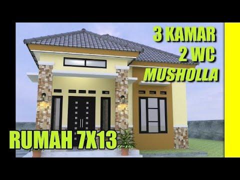 Desain Rumah Minimalis Ukuran 7x14  desain rumah minimalis 7x13 dengan 3 kamar tidur 2 kamar