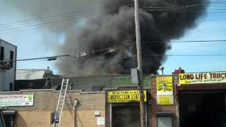 FDNY 4 ALARM FIRE WITH FIREFIGHTER falling at 2.50 min mark RESCUE AT 6.50 MIN MARK