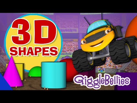 Monster Trucks Learn 3D Shapes  GiggleBellies