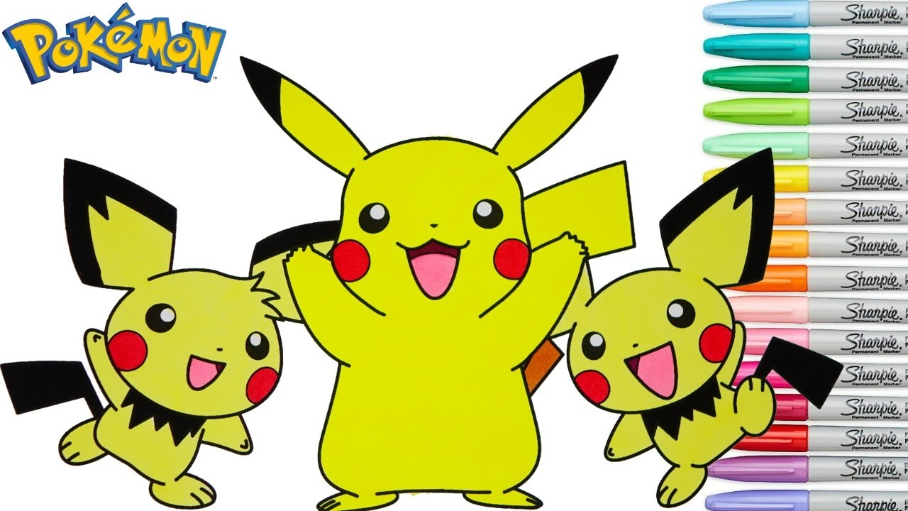 Pokemon Coloring Book Pikachu Pichu Colouring Pages Episode Rainbow Splash