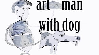 How to draw a man walking a dog