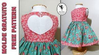 Vestido Coração – 1 a 6 anos – Molde Gratuito