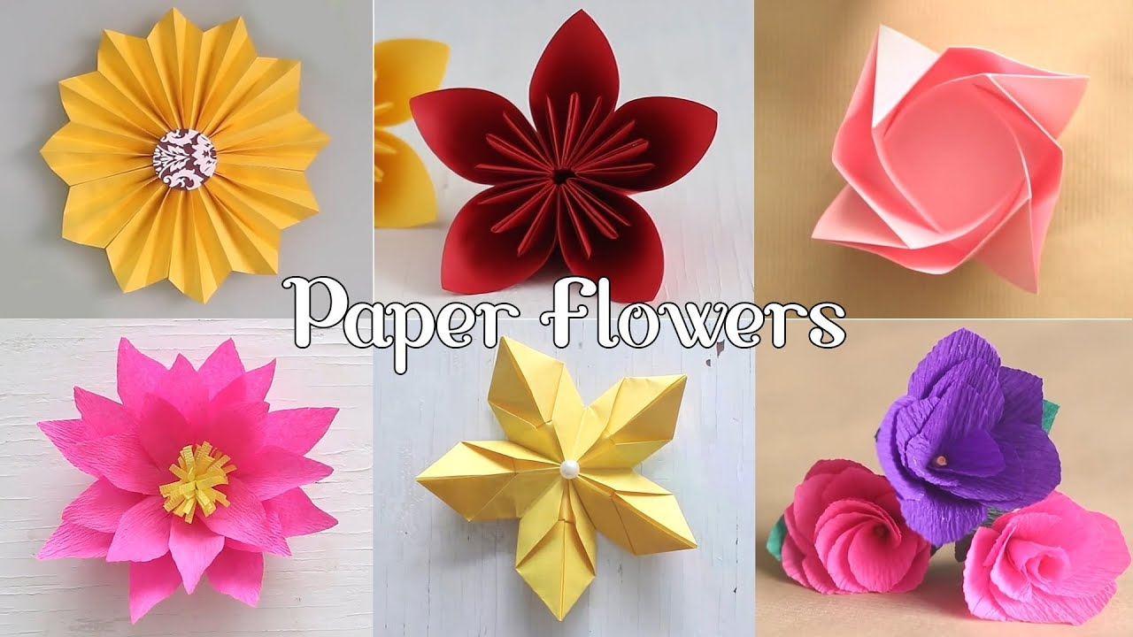 6 Easy Paper Flowers Flower Making Diy Youtube
