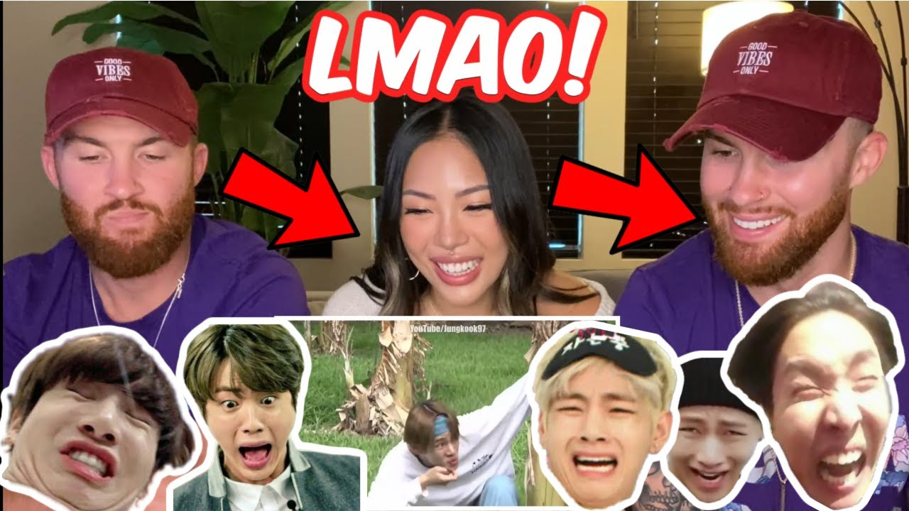 BTS TRY NOT TO LAUGH CHALLENGE REACTION - OUR FIRST TIME! 😂😆