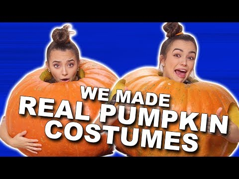 We made REAL Pumpkin Costumes - Merrell Twins