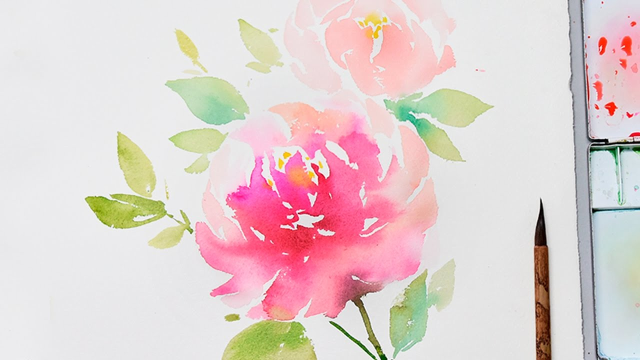 Lvl4 how to paint flowers in watercolor step by step for How to paint a rose in watercolor step by step