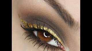Brown smokey eye with gold eyeliner Tutorial Thumbnail