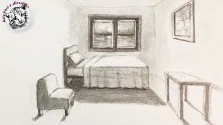 How to Draw a Room in Perspective of a Very Easy Point and Step by Step