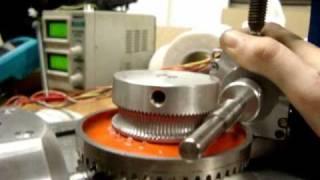 Variable pitch wind turbine bevel gear stepper motor testing