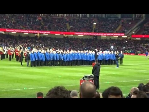Six Nation 2016. Wales v France. Singing Before The Game. Calon Lan.