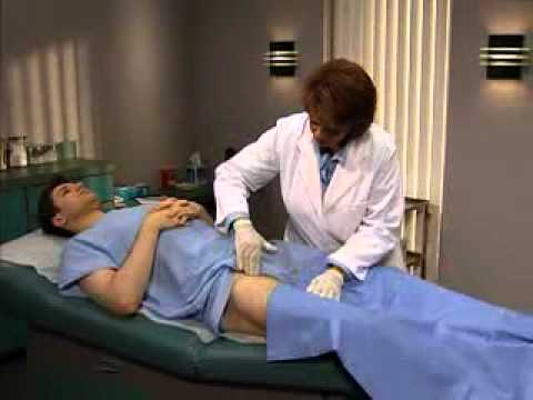 Palpating the inguinal  lymph nodes