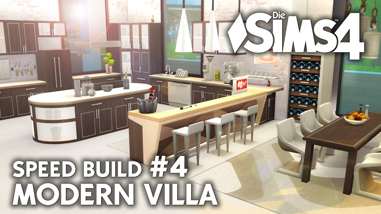 Küche & Kino | Die Sims 4 Haus bauen | Modern Villa #4 - Speed Build  (deutsch)