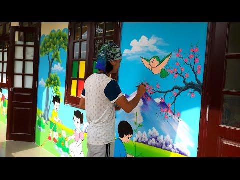 Vẽ tranh tường mầm non, họa sĩ 10 năm kinh nghiệm, nhận vẽ tranh tường mầm non toàn quốc.