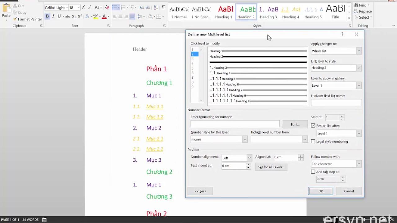 [Microsoft Word] Bài 5: Đánh số thứ tự cho các tiêu đề