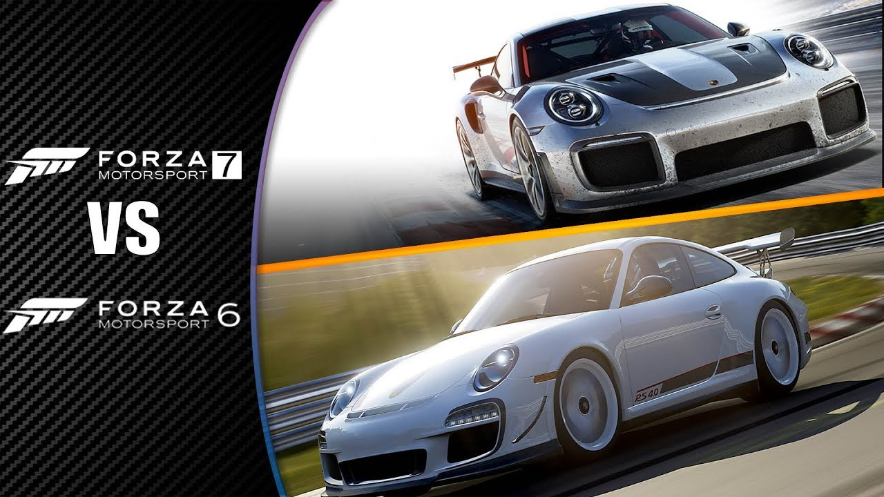 forza motorsport 7 vs forza motorsport 6 comparaison son porsche 911 gt2 rs xbox one youtube. Black Bedroom Furniture Sets. Home Design Ideas
