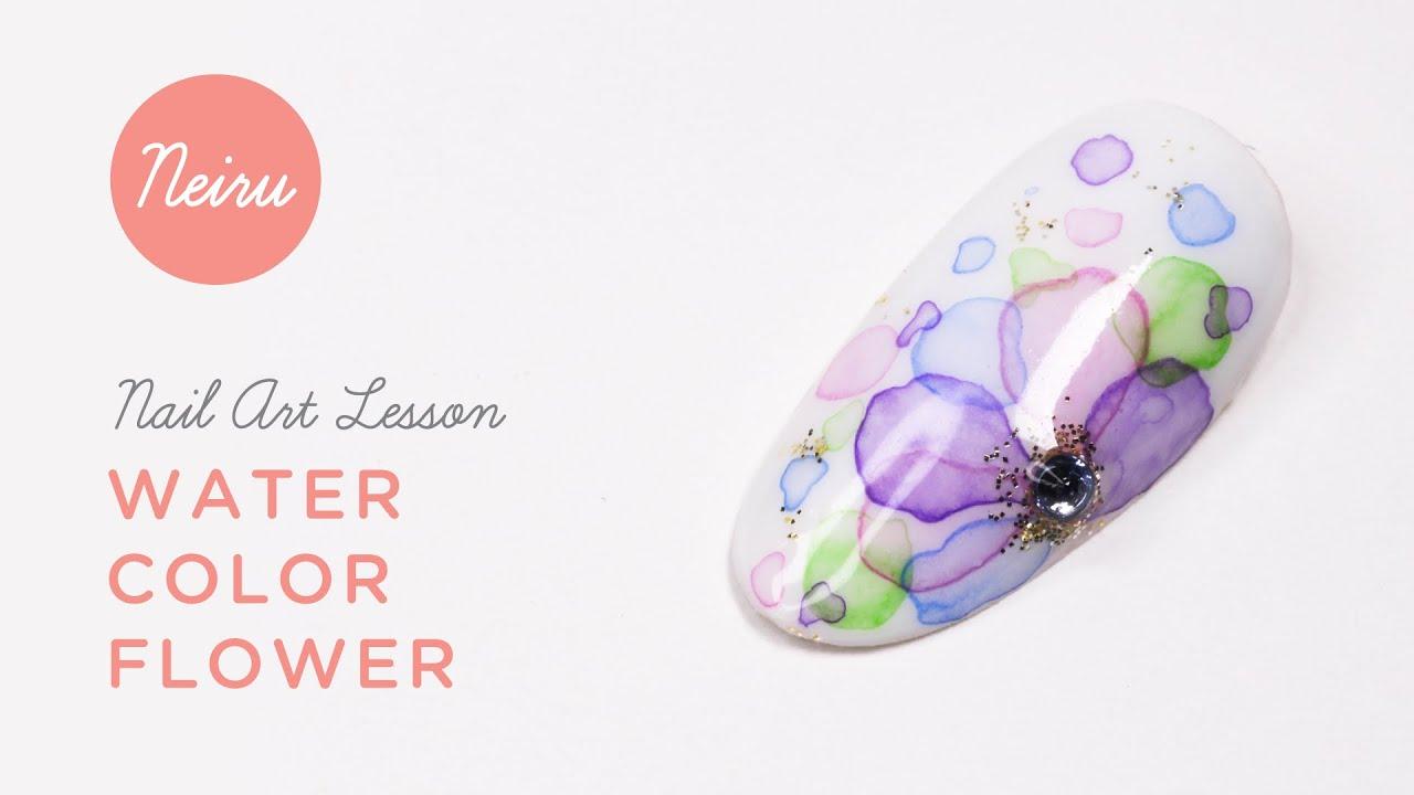 Japanese Nail Art Tutorial (): Water Color Flower ...
