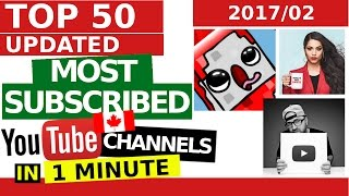 Top 50 Most SUBSCRIBED YouTubers in Canada - IN 1 MINUTE (February 28, 2017)