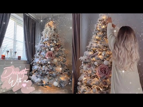 decorating my christmas tree 2018 feathery rose gold blush pink how to style a flocked tree - Youtube Christmas Decorations