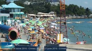 Крым. Алушта. Пляжи сегодня 27 июня 2016(В Алуште по-прежнему очень жарко, +32 в тени, без ветра. Море +24-26. Вода мутноватая после небольшого волнения...., 2016-06-27T12:17:21.000Z)