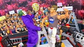 JOKER JON MOXLEY VS WWE STAGE CREATOR HARDCORE CHAMPIONSHIP ACTION FIGURE LADDER MATCH!