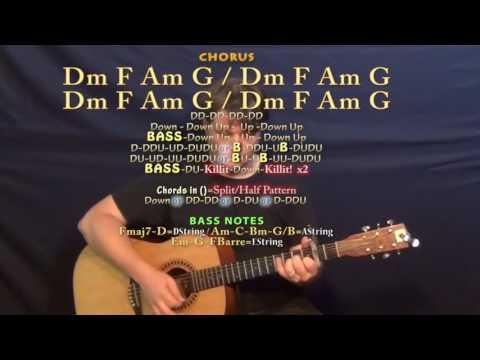 Mercy (Shawn Mendes) Guitar Lesson Chord Chart - Capo 2nd - Dm F Am G C