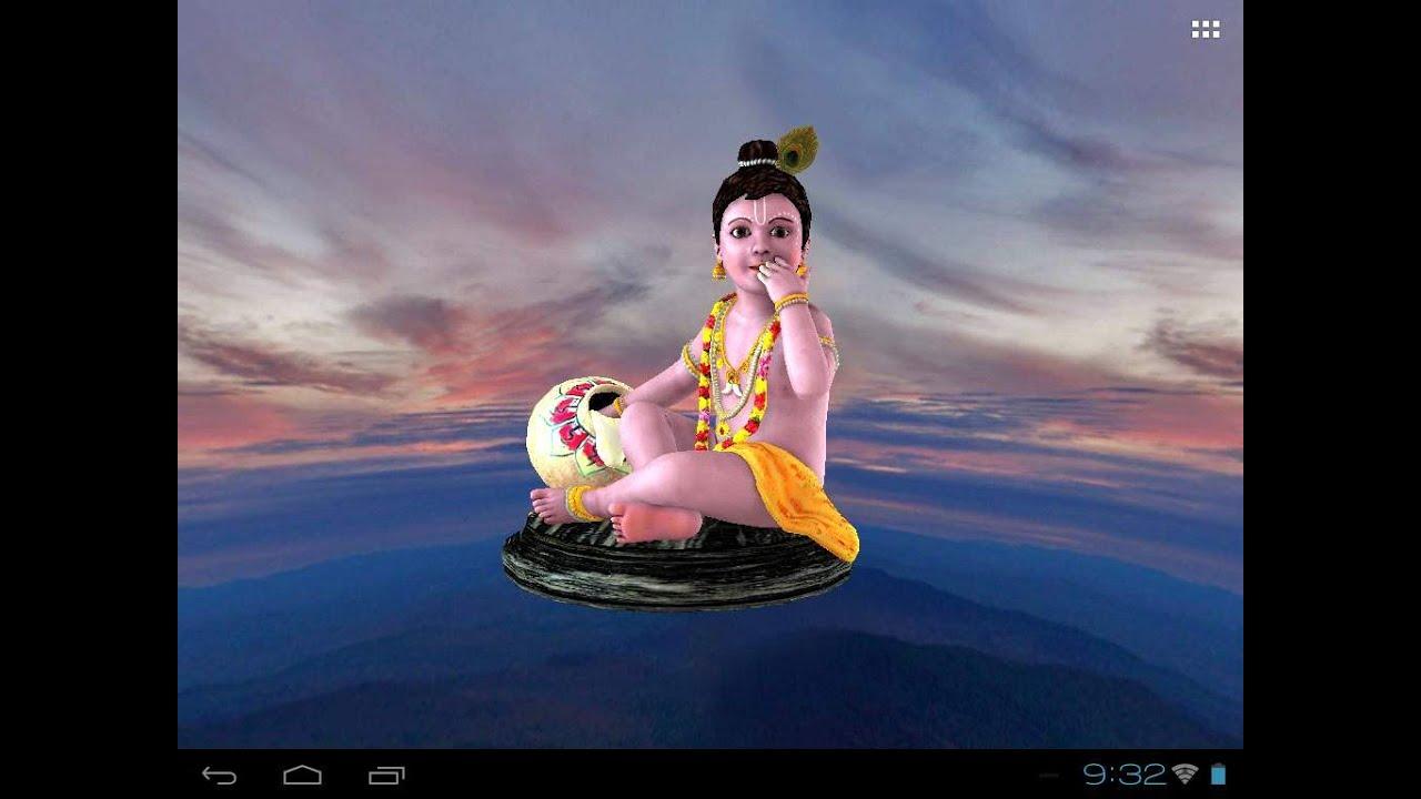 Krishna's Free animated 3D Mobile App, Live Wallpaper - YouTube