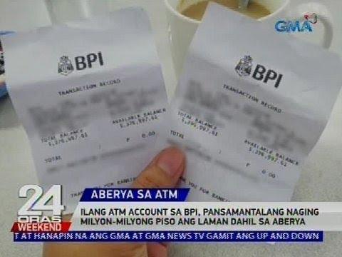 Ilang ATM account sa BPI, pansamantalang naging milyon-milyong piso ang laman dahil sa aberya