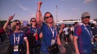 Fans react outside stadium after Iceland draw with Argentina