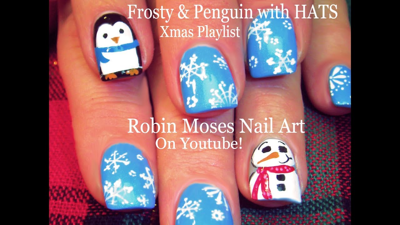 ... Nails | Snowman & Penguin with HATS Nail Art Design - YouTube
