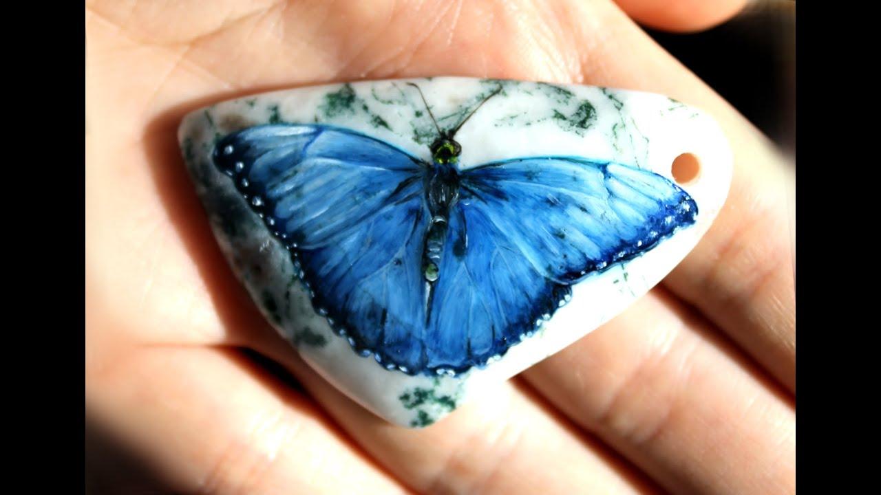 The Stone Pendant Blue Morpho Erfly Кулон с бабочкой Морфо пелеида Oil Paint