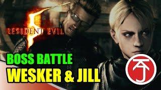 Resident Evil 5 - BOSS BATTLE: CHRIS AND SHEVA VS WESKER AND JILL
