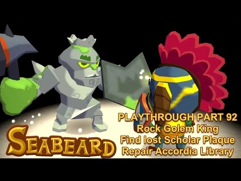 Seabeard Playthrough Part 92 - Rock Golem King & Repair Accordia Library (iOS/Android) No Commentary